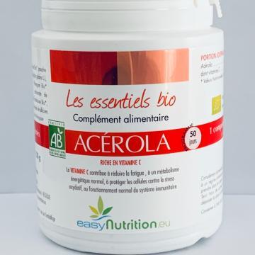 Vitamine C Bio - Lutter contre la fatigue, le stress oxydatif, système immunitaire - Anti-Age - Acerola Bio - Easynutrition